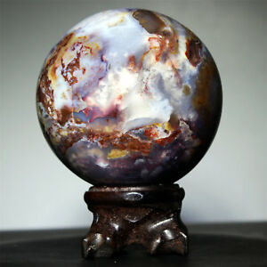 2-9-034-556g-Polished-POLYCHROME-JASPER-SPHERE-BALL-w-Rosewood-Stand-Madagascar