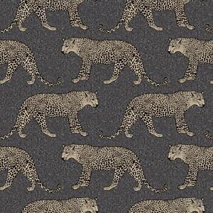 Details About Black Gold Leopard Wallpaper Metallic Shimmer Animal Print Spots Feature Rasch