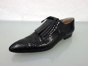 ROBERT-CLERGERIE-Exotenleder-Schnuerer-Gr-42-UK10Schuhe-Shoes-spitze-Form-Schwarz