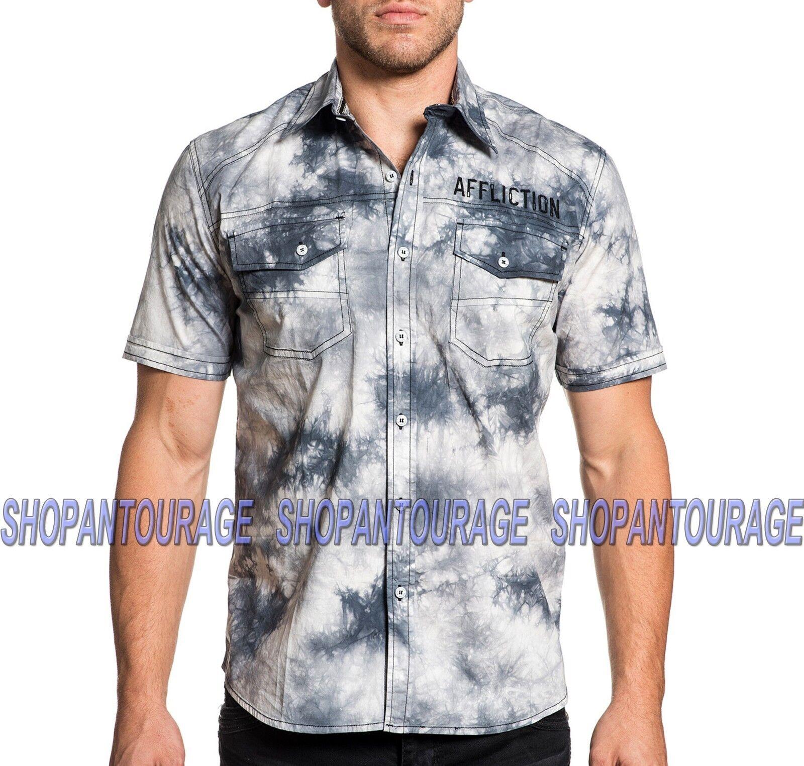 AFFLICTION Flywheel 110WV678 Men`s New Ice Weiß S/S Button-Down Shirt
