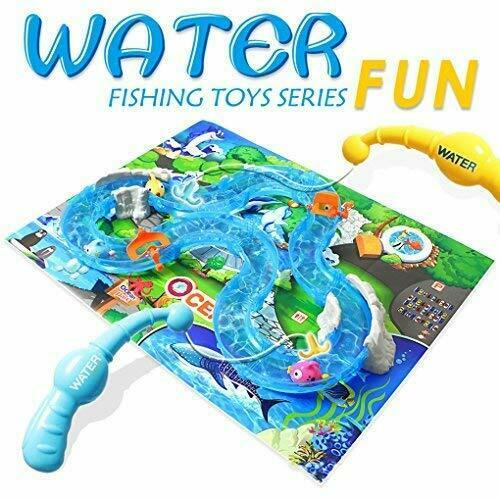 Fishing Game water Toys for Toddlers Colorful Floating Bath Toys Water Track