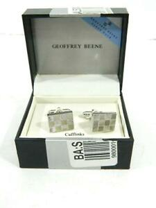 Geoffrey-Beene-Men-039-s-Silver-Cufflinks-Set-NIB-MSRP-38-A2