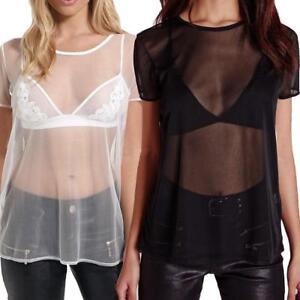 Womens Ladies Mesh Sheer Short Sleeve T-Shirt Baggy See Through Plain Oversize