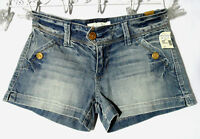 Maurices Jean Shorts 3/4 Medium Wash Button Detail Boho Indie Summer Mini