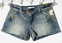 Maurices Jean Shorts 3/4 Medium Wash Button Detail Boho Indie Summer Mini
