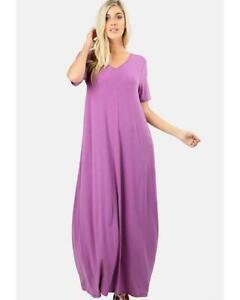 Keeping It Comfy Short Sleeve V-Neck Maxi T-Shirt Dress w/ Pockets ...