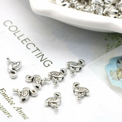 5 Flamingo Beads Spacer Beads Metal Antiqued Silver 12mm Findings Kitsch