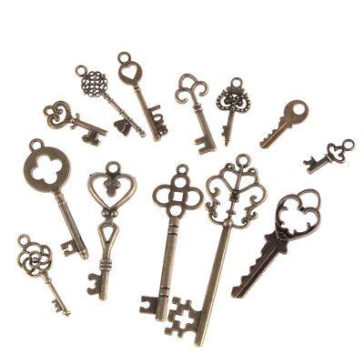 13Pcs Antique Vintage Old Look Skeleton Key Bronze Tone Pendant Mix Jewelry