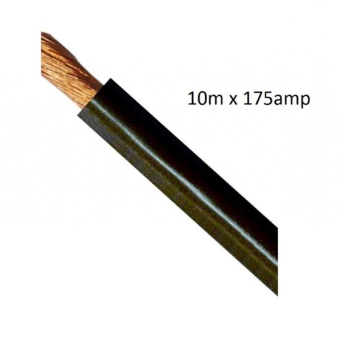 10m x 175 AMP Black Wire 25mm Welding Cable - Battery Starter - 175AMP 175A Wire