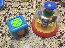 VINTAGE DISNEY PUSH SPIN TOY BABY TOY ANF DISNEY ACTIVITY BABY BLOCK GUC