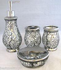 NEW SILVER GLASS,MIRROR MOSAIC BATHROOM SOAP DISPENSER+DISH+TOOTHBRUSH+TUMBLER