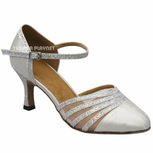 TPS White /& Silver Latin Ballroom Salsa Custom-made Dance Shoes D933