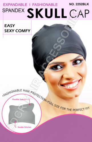 Womens Spandex SKULL Cap Flexible Breathable Material #2252BLK Fits Almost All**