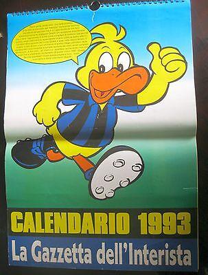 2019 Nieuwste Ontwerp Inter Calendario 1993 La Gazzetta Dell'interista 42 X 30 Cm. Raro