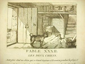 Fable Xxxii Les Deux Chiens C 1830 Gravure The Two Dogs Story Etching Haute SéCurité
