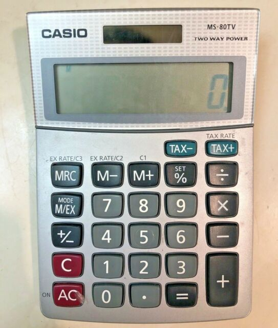 Casio MS-80TV Basic Calculator- Tax & Exchange Function Solar and Battery