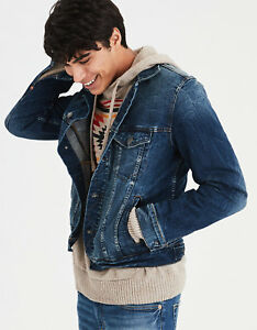 9bc912bec Details about AE American Eagle Outfitters Men Dark Wash Jean Jacket Washed  Blue NWT