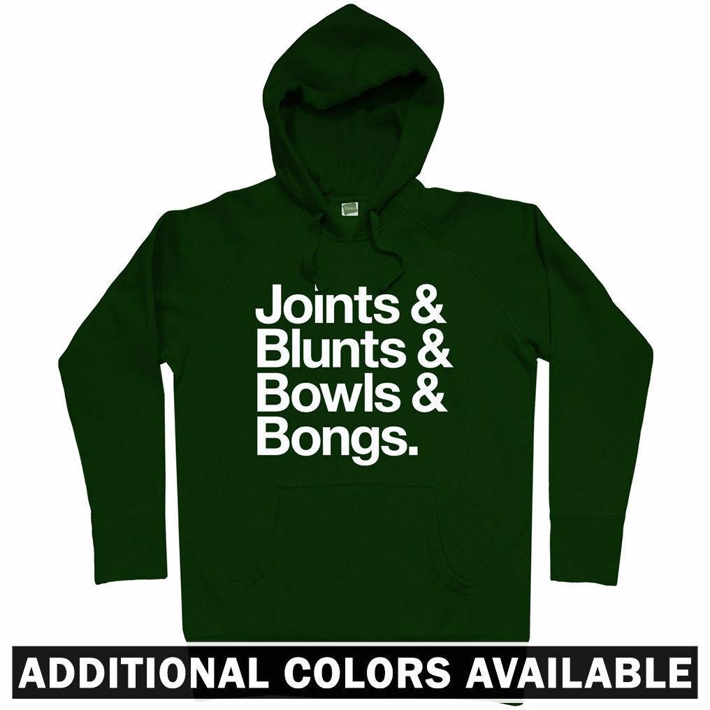 Joints Blaunts Bowls Bongs Hoodie - Cannabis Marijuana Dope Weed Kush - Men S-3XL