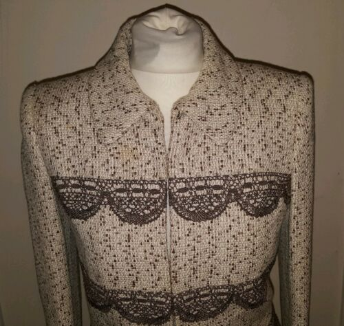 Sabbadini Ladies Womens Small Tweed Brown Jacket Cream Juanita Size RqdExg