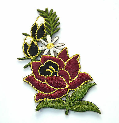 CHOCOLATE FLOWER WHITE DAISY Embroidered Sew Iron On Cloth Patch Badge APPLIQUE