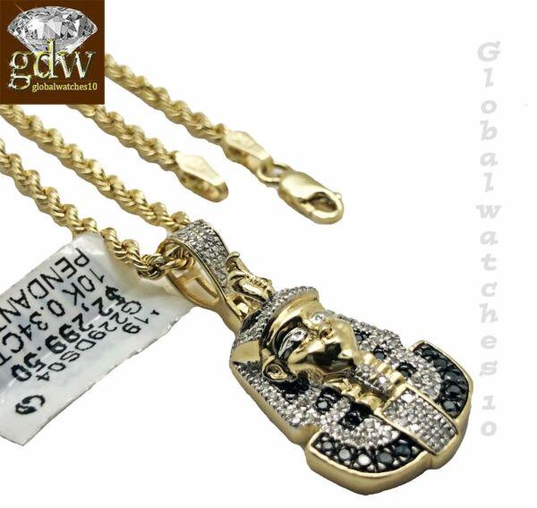 10k Gold Seil Kette Mit Anhänger, Pharao Kopf In Verschiedene Länge, Herren