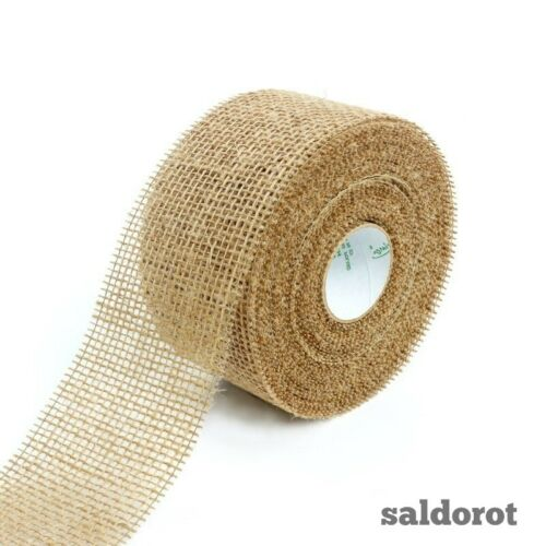 40 ~ 70 mm Naturel Jute ruban /& tissu de Hesse jute rustique mariages Craft