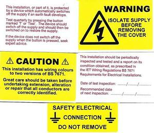 100 mixed electrical labels stickers 20 of each design non rip rh ebay co uk Cable Labels Household Labels