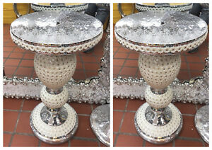 PAIR x2 MOSAIC Silver Mirrored Side Table Modern Plant Stands Bed Sparkle Romany