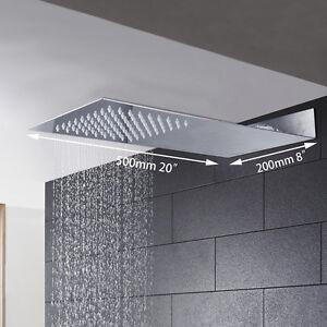 "Bathroom 20"" *8"" Rain Square Shower Head Faucet Wall Mount Faucet Spary"