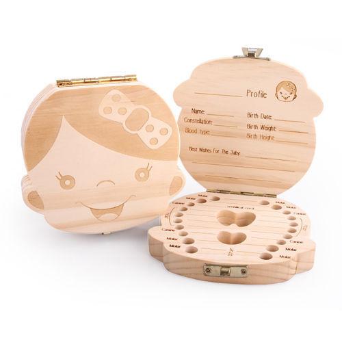 New Kids Boy/&Girl Tooth Box organizer for baby Save Milk teeth Wood Storage Box@