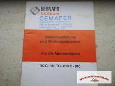 Bedienungsanleitung/Ersatzteilliste für Bernard Motoren 110C-110TC-610C-810