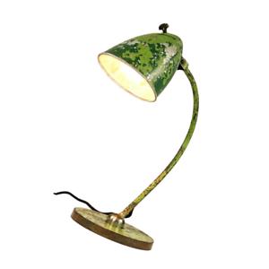 HALA-Arbeits-Leuchte-Camouflage-Shabby-Style-Tisch-Lese-Lampe-Vintage-30er-40er