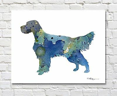 English Setter Abstract Watercolor Painting Art Print by Artist DJ Rogers