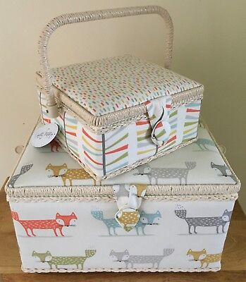 SEWING BOX BASKET Twin Lid or XL Rectangle  /'BLOSSOM/' DESIGN PREMIUM QUALITY