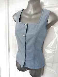 Vintage-LAURA-ASHLEY-Size-8-Blue-Denim-Style-Sleeveless-Blouse-Top-Button-Up