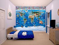 Map Of The World Walltastic Wallpaper Mural For Kids Bedrooms