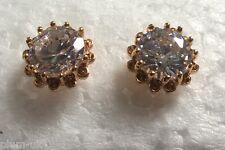 MR White sapphire 18k yellow gold gf 11mm round stud earrings BOXED Plum UK