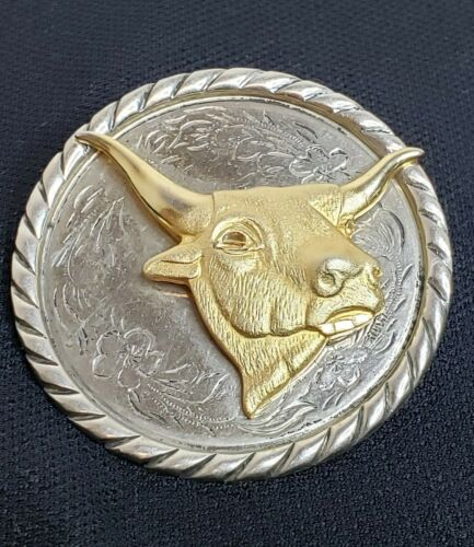 Vintage Long Horn Steer Bolo Mother of Pearl 8546