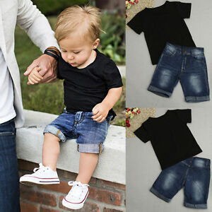 ab13846f94c 2PCS Toddler Kids Baby Boy Outfit Clothes T-Shirt Tops+Jeans Shorts ...