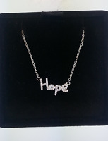 Sterling Silver Cursive 'hope' Diamond Pendant Necklace Chain 17