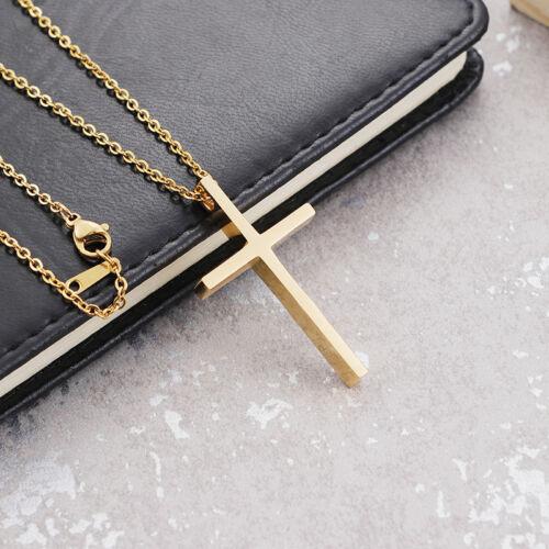 """Couple Bijoux Acier Inoxydable Fashion Simple Croix Collier Pendentif Chaîne 18/"""""""