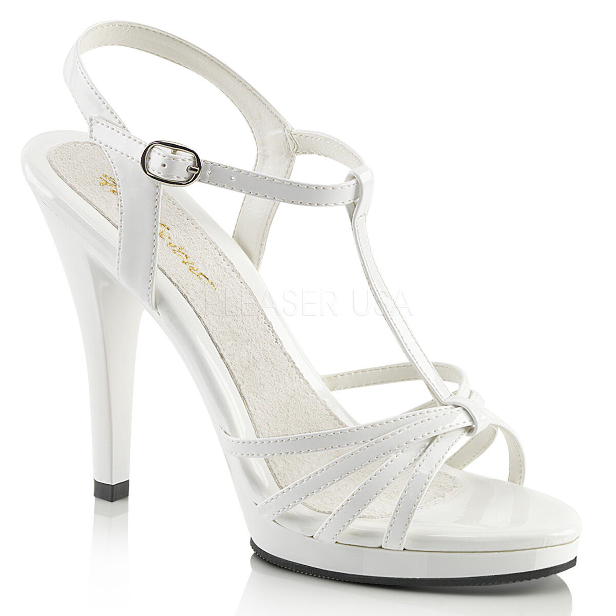 PLEASER FABULICIOUS FLAIR-420 WHITE T-STRAP PLATFORM STILETTO HEEL SANDALS