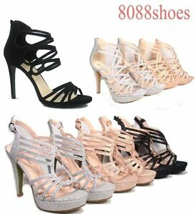 d1cd34a7f76b Women s Glitter Birdal Strappy High Heel Platform Evening Pump Shoes ...