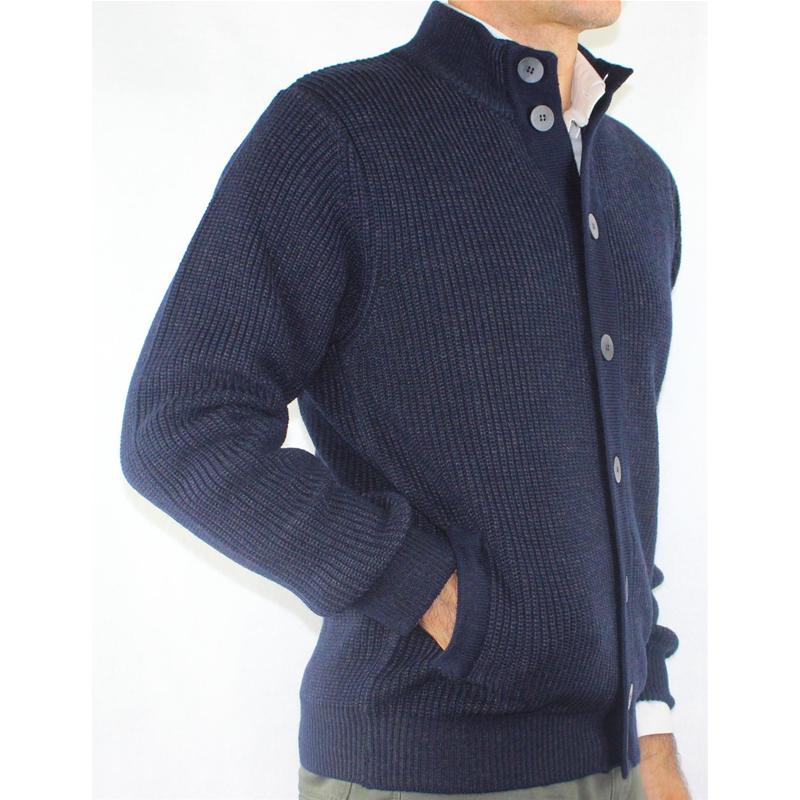 Jacke Herren aus Wolle mit Taschen und Buttons Made in  Jersey Englisch