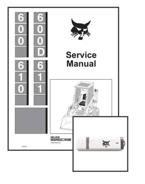 Bobcat 610 611 Skid Steer Workshop Repair Service Manual 6556276 USB + Download