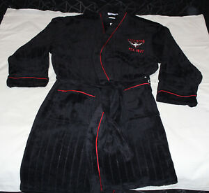 Essendon-Bombers-AFL-Mens-Est-Black-Red-Fleece-Dressing-Gown-Robe-One-Size-New