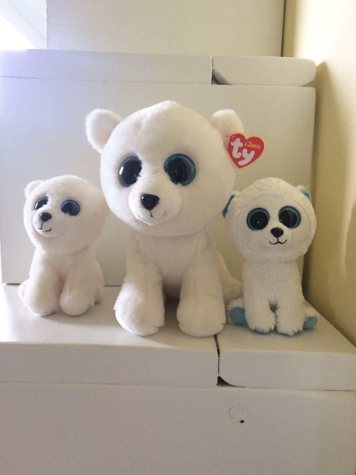 NEW Ty Beanie Baby Boos 6  & 8  ARCTIC & 6  TUNDRA Polar Bear Plushes Lot of 3