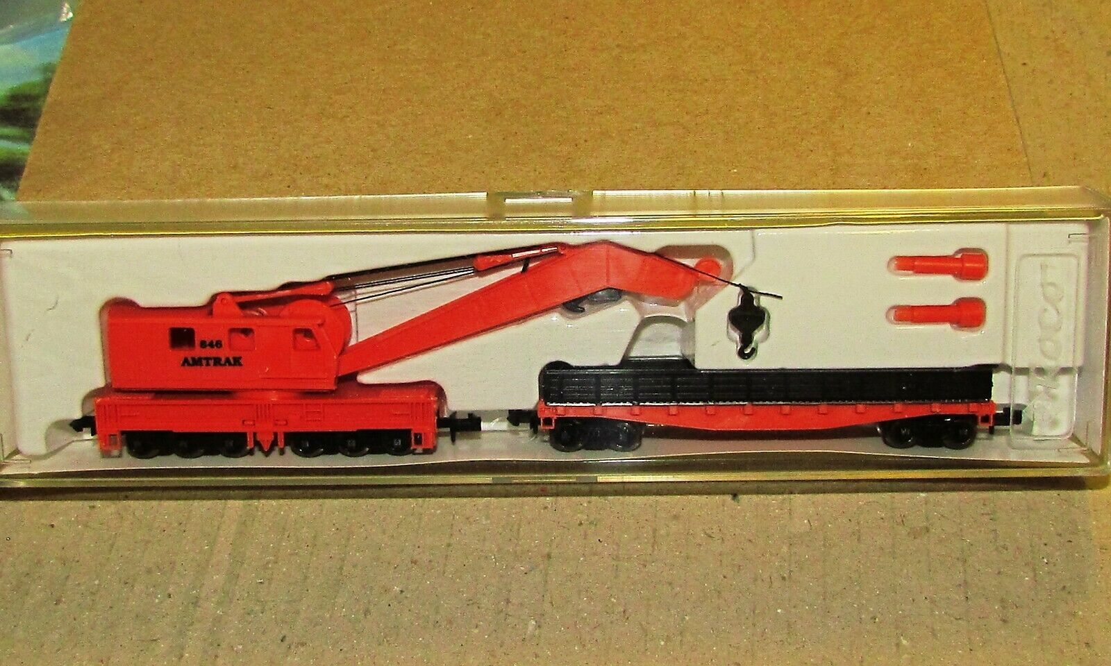 Model Power N Crane Car /& Work Car w//Metal Wheels Amtrak #846