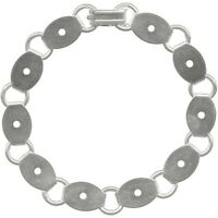 Bracelet Blanks Forms Plain Silver 10 Oval Pads 14mm You Glue Cabs Or Beads