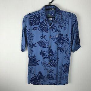 Hawaiian-Moon-Shirt-Herren-Groesse-XS-Blumenmuster-Blau-Rayon-Kurzarm-Button-Down